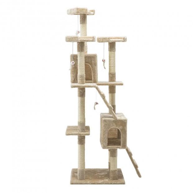 i.Pet 180cm Multi Level Cat Scratching Post - Beige Image 1
