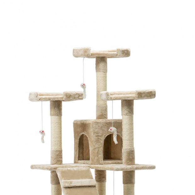 i.Pet 180cm Multi Level Cat Scratching Post - Beige Image 3