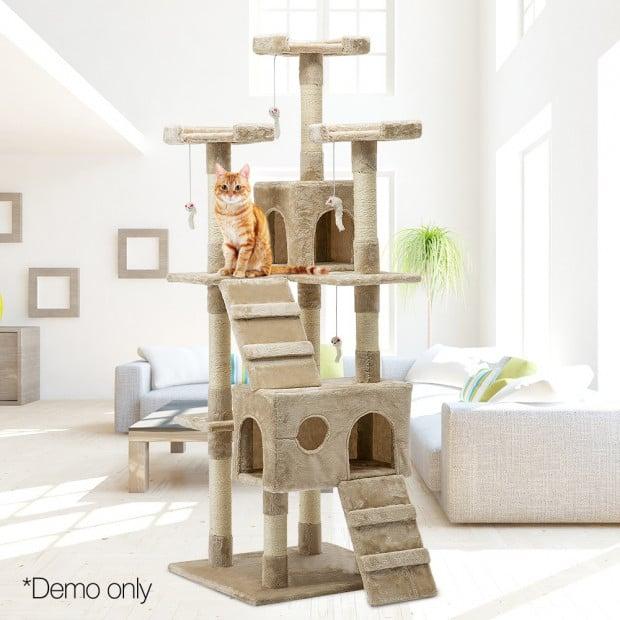 i.Pet 180cm Multi Level Cat Scratching Post - Beige Image 10