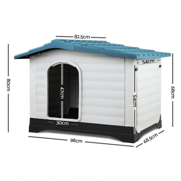 Large Weatherproof Pet Kennel - Blue Image 2