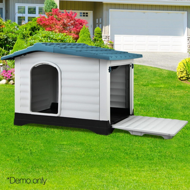Large Weatherproof Pet Kennel - Blue Image 8