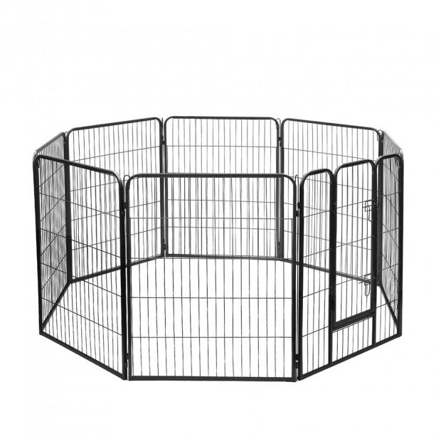 i.Pet 8 Panel Portable Pet Playpen - Black