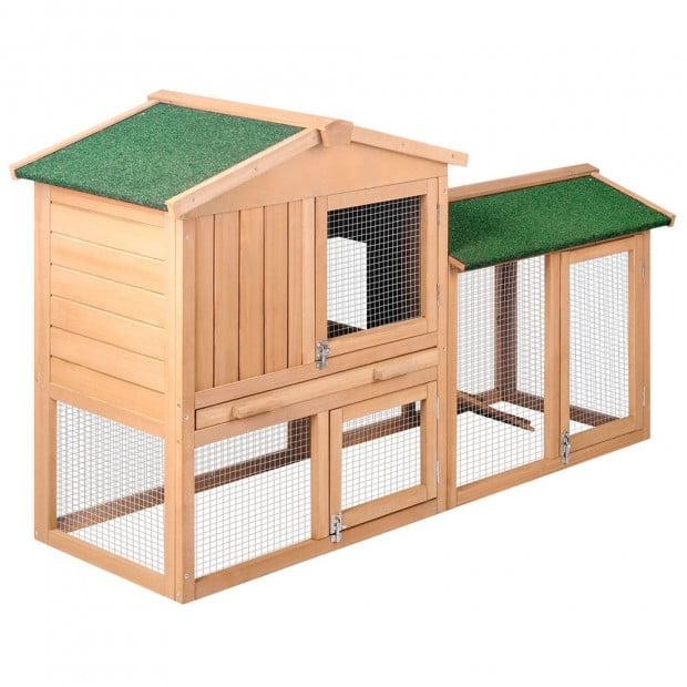 Rabbit Hutch Chicken Coop Cage Guinea Pig House - 2 Storeys Run