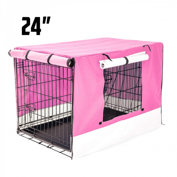 Foldable Metal Wire Dog Cage w/ Cover - PINK 24