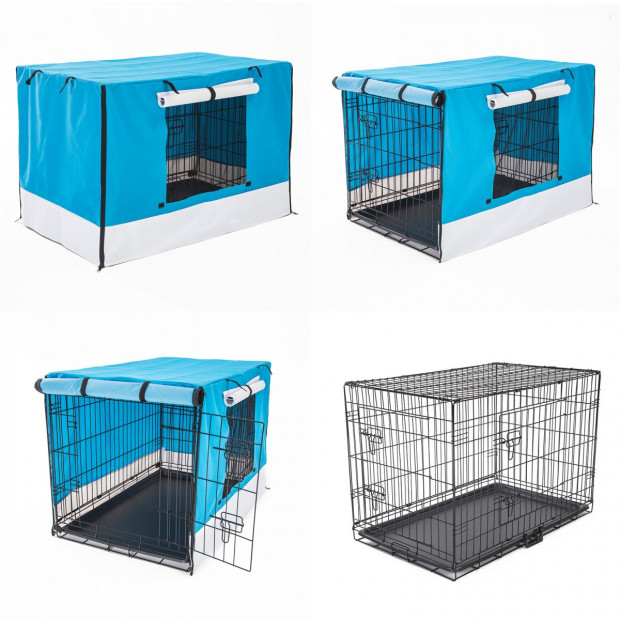 Foldable Metal Wire Dog Cage w/ Cover - BLUE 30