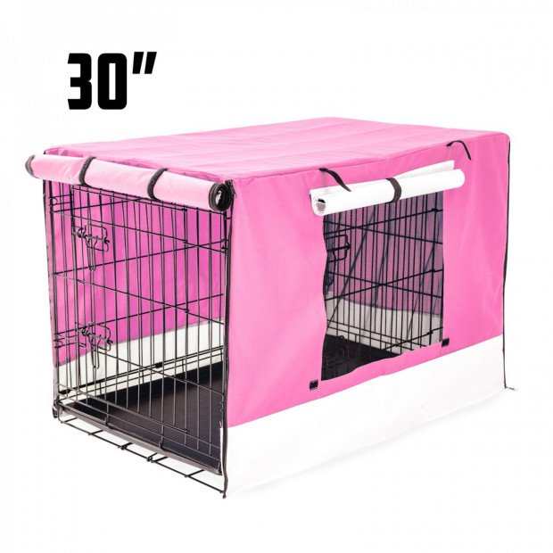 Foldable Metal Wire Dog Cage w/ Cover - PINK 30