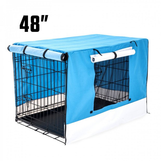 Foldable Metal Wire Dog Cage w/ Cover - BLUE 48