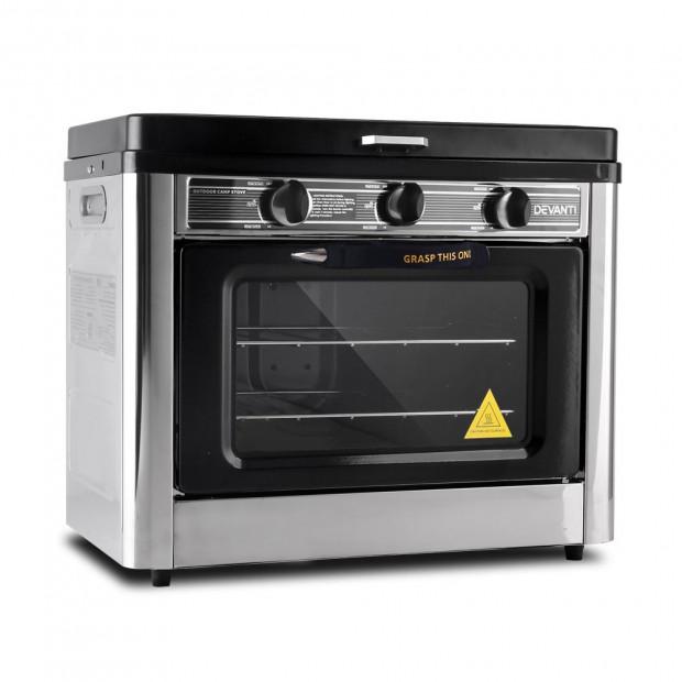 Devanti Portable Gas Oven and Stove Silver and Black