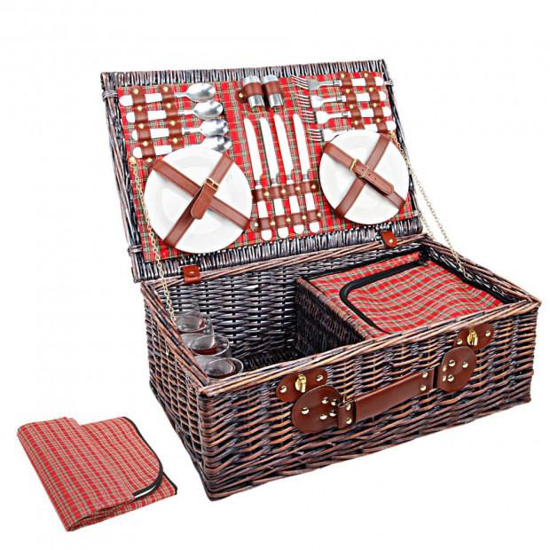4 Person Picnic Basket Set w/ Cooler Bag Blanket