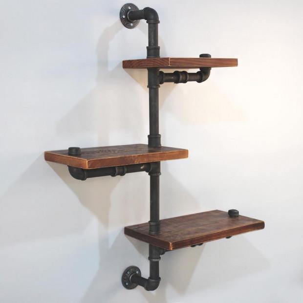Rustic Industrial DIY Floating Pipe Shelf - 77x25x105cm