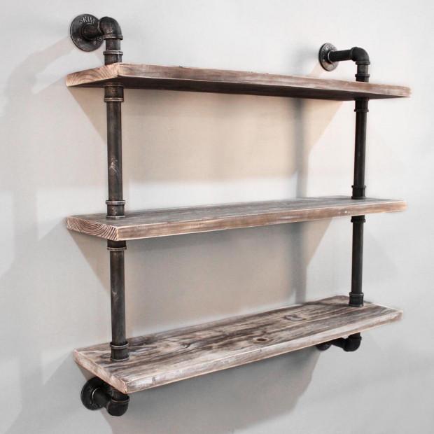 Rustic Industrial DIY Floating Pipe Shelf - 98 x 92cm