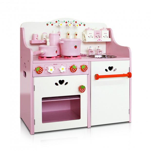 Children Wooden Kitchen Play Set - Pink