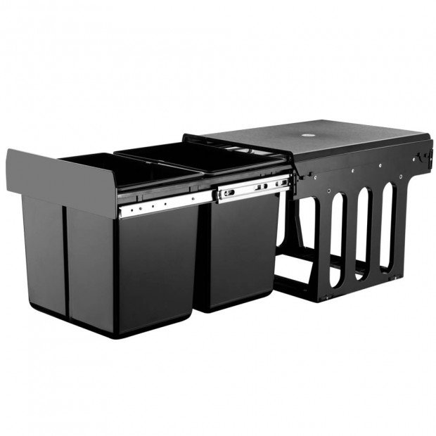 Set of 2 15L Twin Pull Out Bins Kitchen Slide Out Rubbish Basket Black