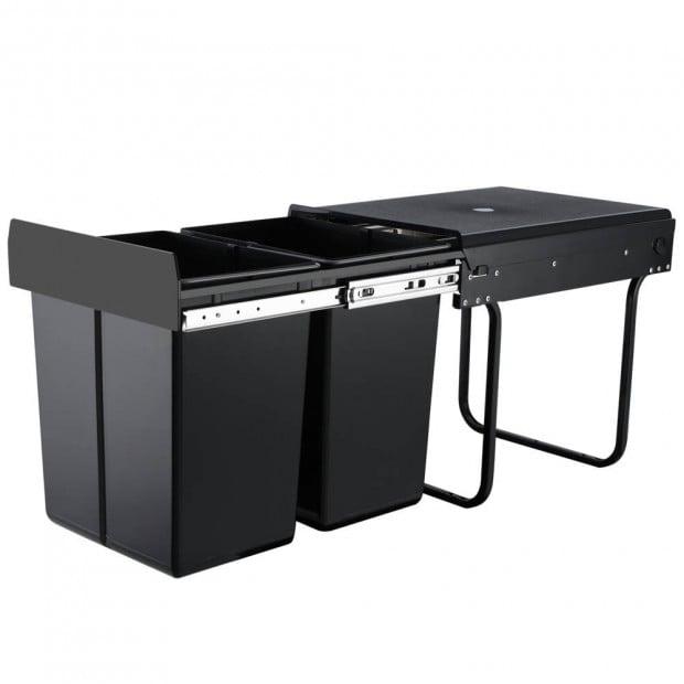 Set of 2 20L Twin Pull Out Bins Kitchen Slide Out Rubbish Basket Black