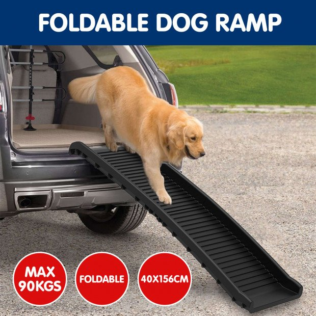 Foldable Car Dog Ramp Vehicle Ladder Step Stairs - Black