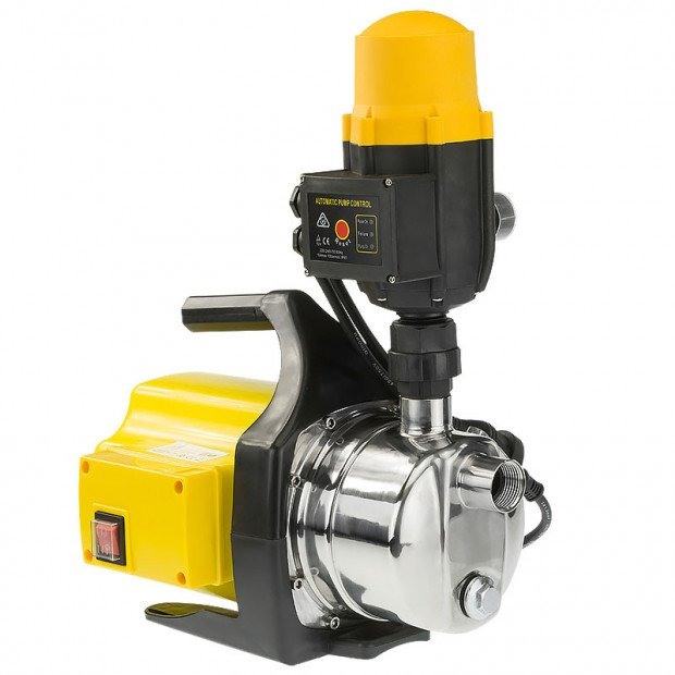 800w Weatherised Stainless Steel Auto Water Pump - Yellow