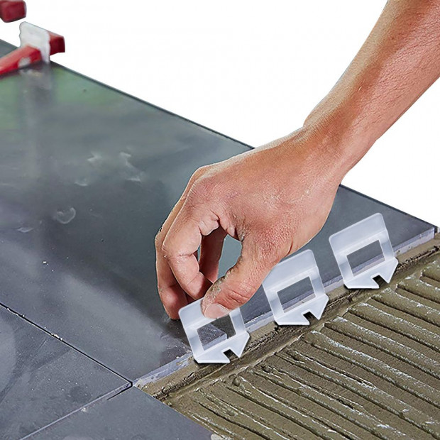 600x 1MM Tile Leveling System Clips Levelling Spacer Tiling Tool Image 1