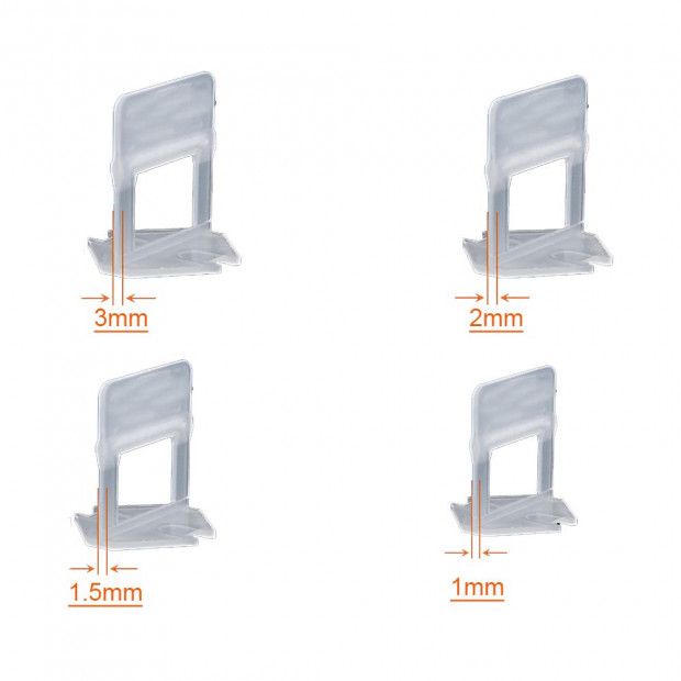 600x 1MM Tile Leveling System Clips Levelling Spacer Tiling Tool Image 2