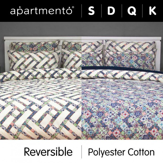 Corley - Printed Poly/Cotton Reversible Quilt Cover Set