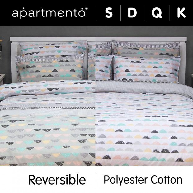 Eve Grey - Printed Poly/Cotton Reversible Quilt Cover Set