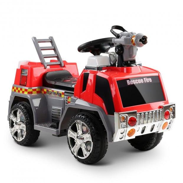 Rigo Kids Ride On Fire Truck Car - Red & Grey