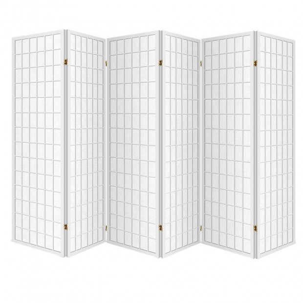 6 Panel Room Divider Privacy Screen Foldable Pine Wood Stand White