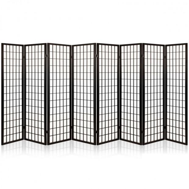 8 Panel Room Divider Privacy Screen Dividers  Oriental Vintage Black