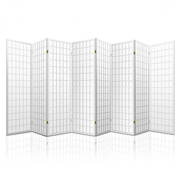 8 Panel Room Divider  Screen Dividers Stand Oriental Vintage White