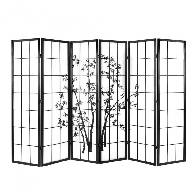6 Panel Room Divider Screen Privacy Pine Wood Stand Black White