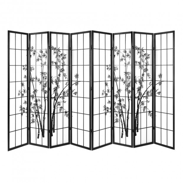 8 Panel Room Divider Screen Dividers  Stand Shoji Bamboo Black White