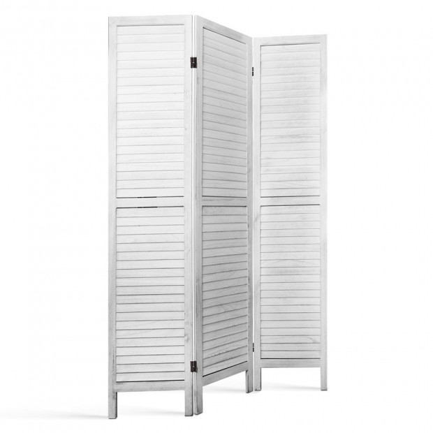 Room Divider Privacy Screen Foldable Partition Stand 3 Panel White