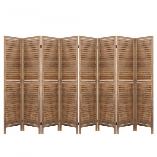 Room Divider Screen 8 Panel  Wood Dividers Stand Bed Timber Brown