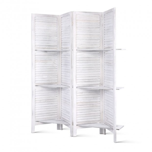 Room Divider Privacy Screen Foldable Partition Stand 4 Panel White