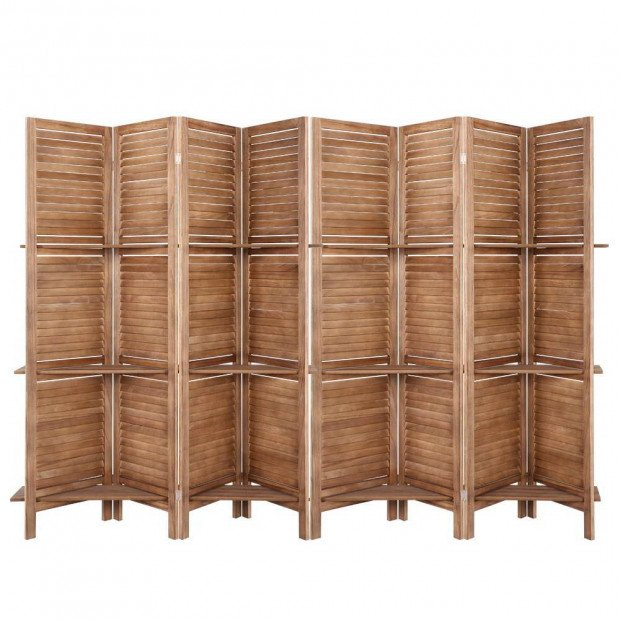Room Divider Screen 8 Panel Privacy Dividers Shelf Wooden Timber Stand
