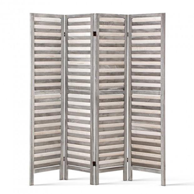 Artiss 4 Panel Foldable Wooden Room Divider - Grey
