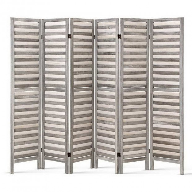 6 Panel Room Divider Privacy Screen Foldable Wood Stand Grey