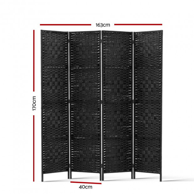4 Panel Room Divider Privacy Screen Rattan Woven Wood Stand Black Image 1
