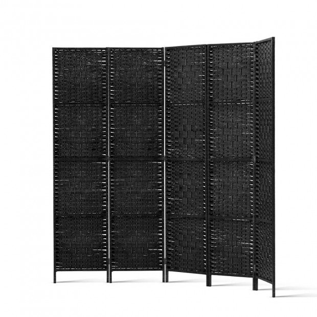 4 Panel Room Divider Privacy Screen Rattan Woven Wood Stand Black Image 2