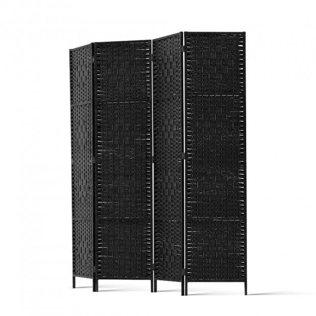 4 Panel Room Divider Privacy Screen Rattan Woven Wood Stand Black Image 3