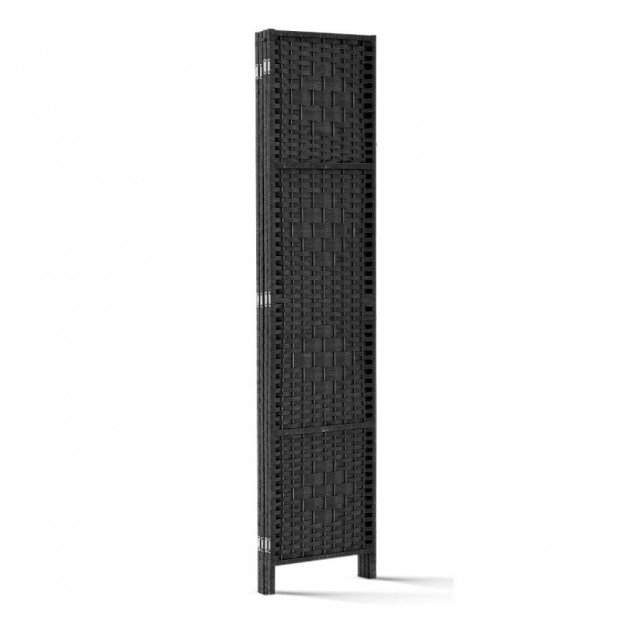 4 Panel Room Divider Privacy Screen Rattan Woven Wood Stand Black Image 4
