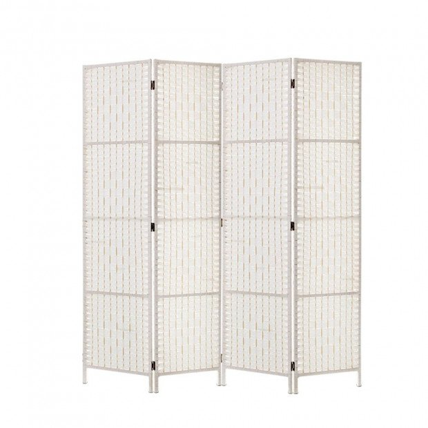 4 Panels Room Divider Screen  Rattan Timber Fold Woven Stand White
