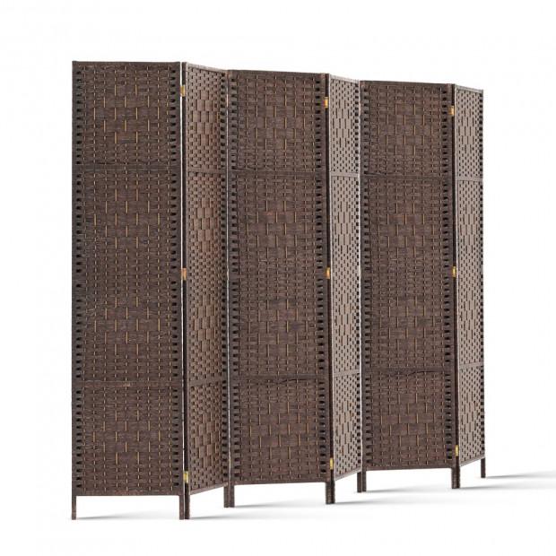 6 Panel Folding Room Divider - Brown