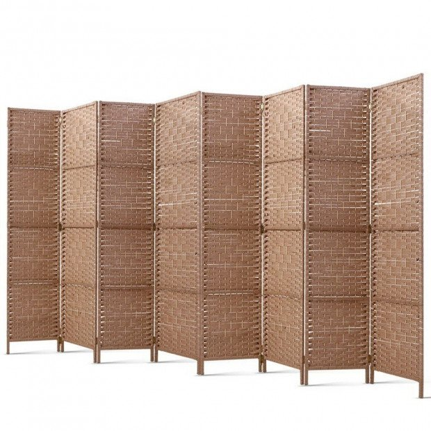 8 Panel Room Divider  Privacy Rattan Timber Foldable Dividers Stand