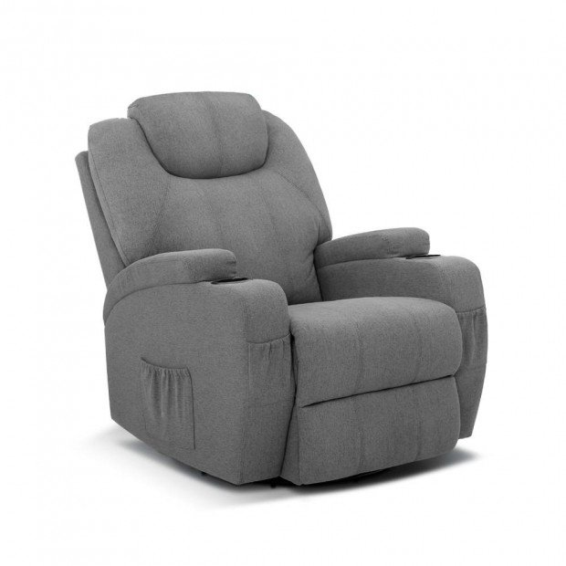 Electric Massage Recliner Chair 8 Point Heated Swivel Fabric Grey