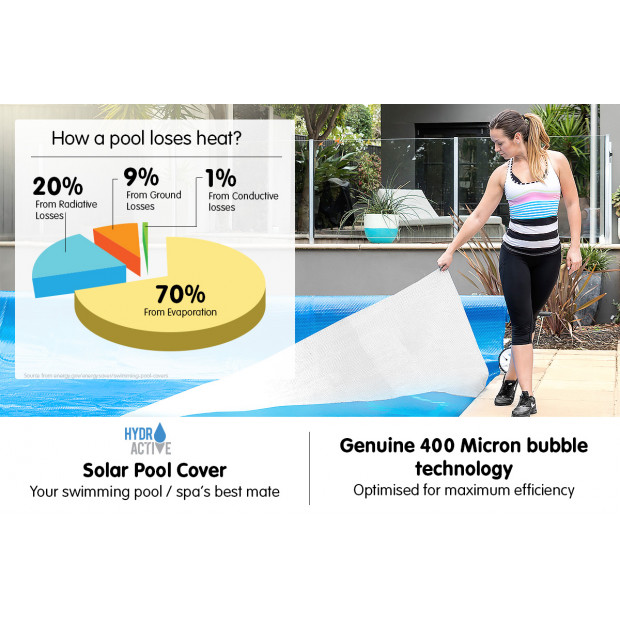 400micron Swimming Pool Roller Cover Combo - Silver/Blue - 11m x 4.8m Image 9