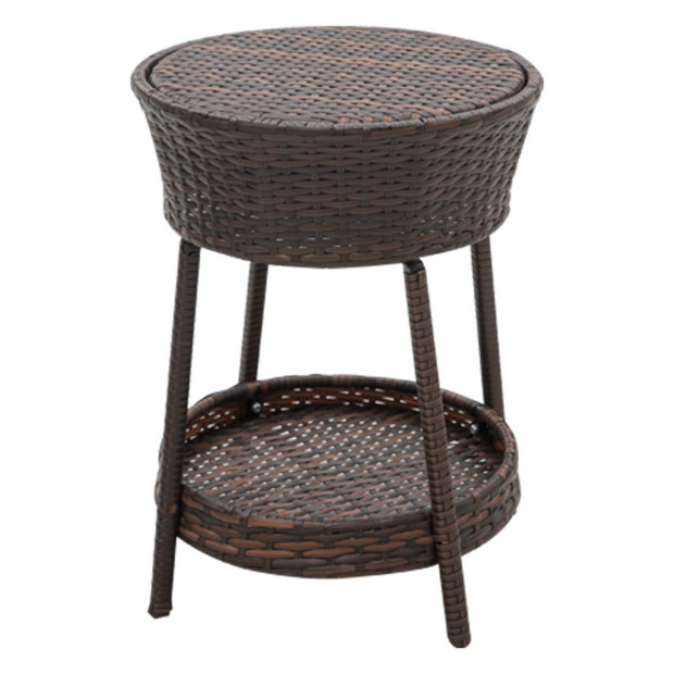 Rattan Outdoor Cooler Table Mini Bar Ice Cool Coffee - Brown Image 2