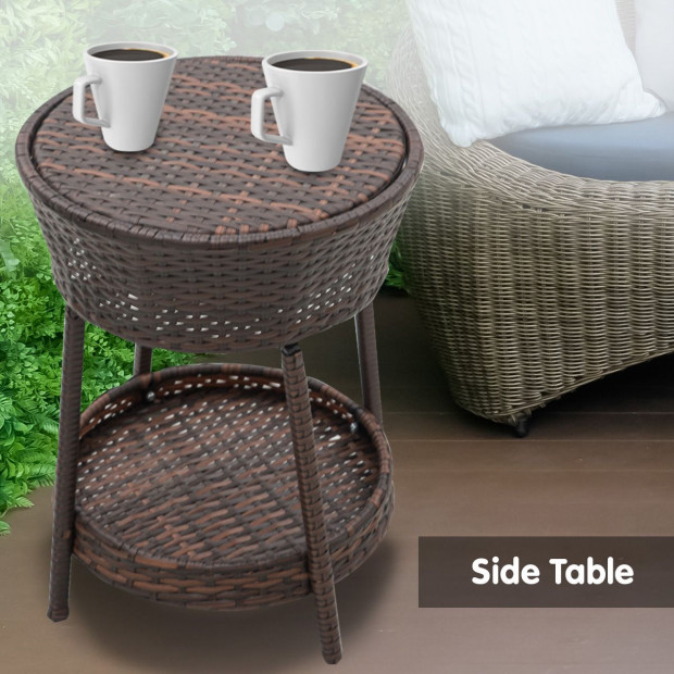 Rattan Outdoor Cooler Table Mini Bar Ice Cool Coffee - Brown Image 3
