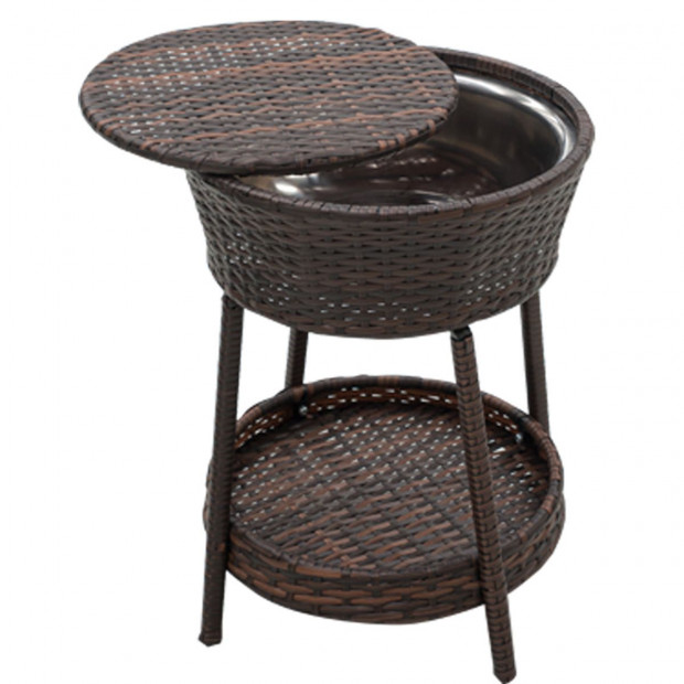 Rattan Outdoor Cooler Table Mini Bar Ice Cool Coffee - Brown Image 8