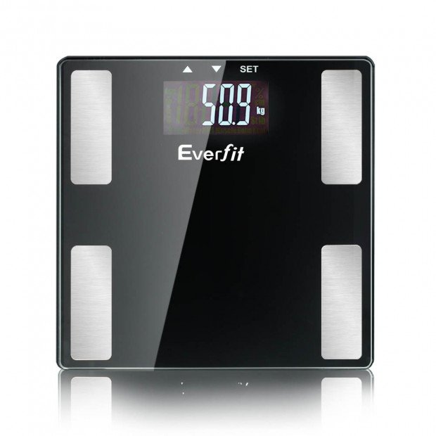 Electronic Digital Body Fat Scale Bathroom Weight Scale-Black Image 2