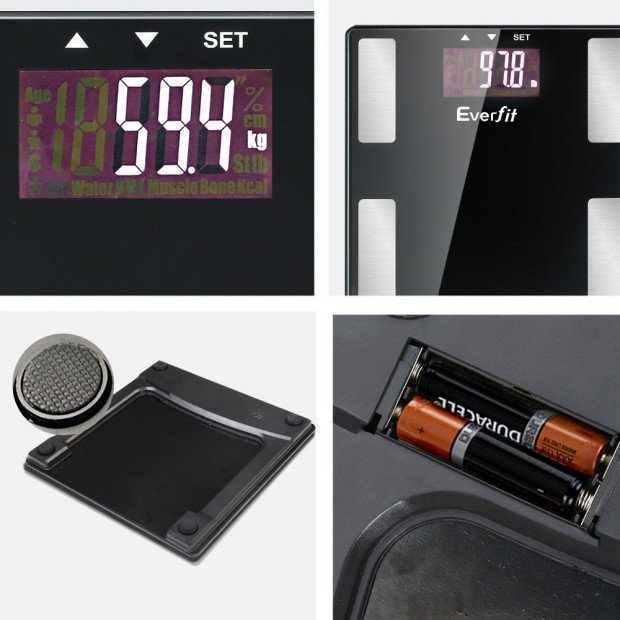 Electronic Digital Body Fat Scale Bathroom Weight Scale-Black Image 5